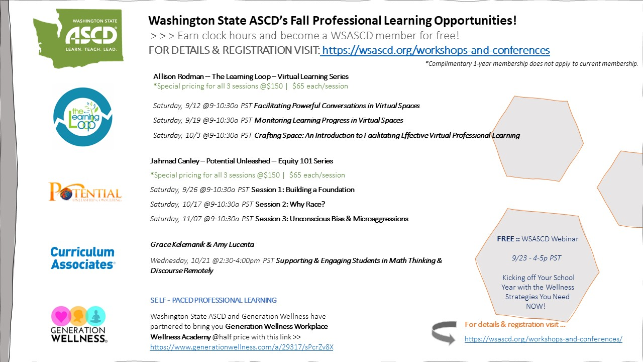 WSASCD FALL PROFESSIONAL LEARNING OPPORTUNITIES