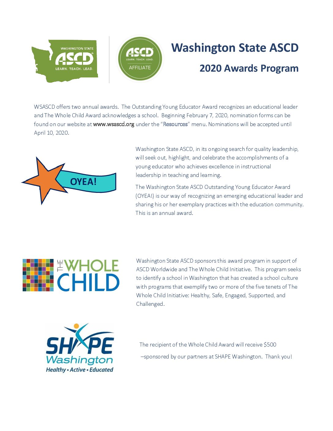 2020 WSASCD AWARDS PROGRAM DEADLINE EXTENDED – May 10
