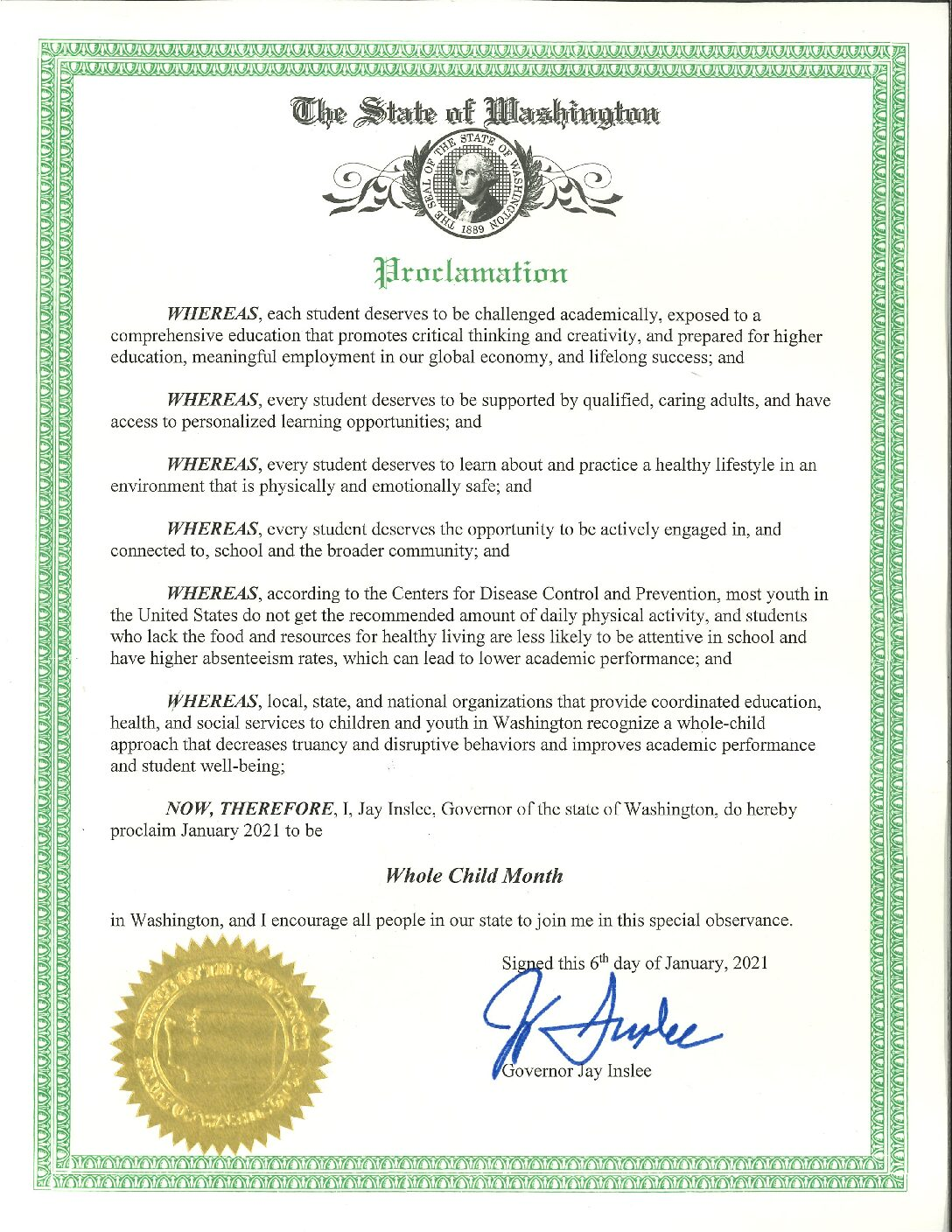 JANUARY | WHOLE CHILD MONTH in WASHINGTON STATE
